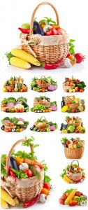 Baskets of vegetables, harvest - Stock photo