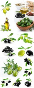 Black olives and olive oil - Stock photo