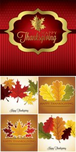 Autumn leaves, Thanksgiving card in vector format