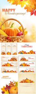 Happy Thanksgiving banners vector