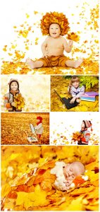 Children and autumn - Stock photo
